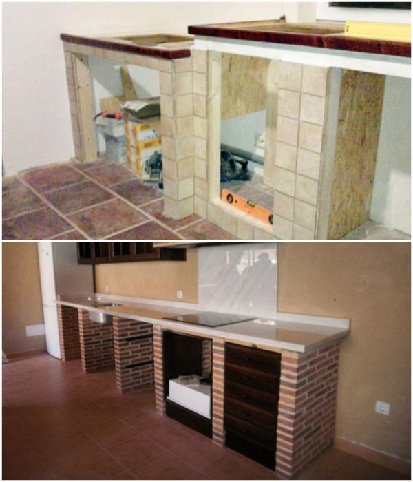 Чтобы закрыть полки в монолитных тумбах нужно замуровать деревянный каркас и навесить дверцу или закрепить пазы для выдвижных ящиков.   Фото: pinterest.com/ forumhouse.ru.