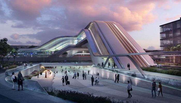 Пешеходный мост соединит новый вокзал, аэропорт и пригородную зону (Таллин, визуализация вокзала). | Фото: newatlas.com.