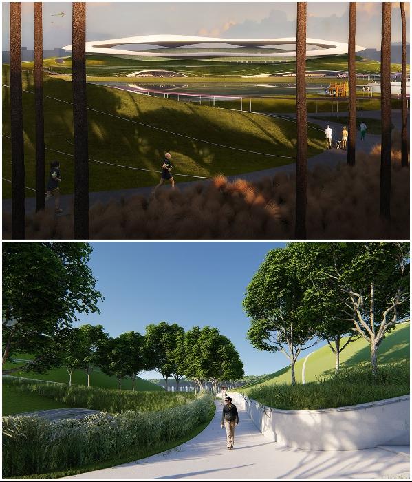 По фасадам и крышам сооружений смогут гулять посетители парка (визуализация «Quzhou Sports Park»). | Фото: worldarchitecture.org/ © MAD Architects.