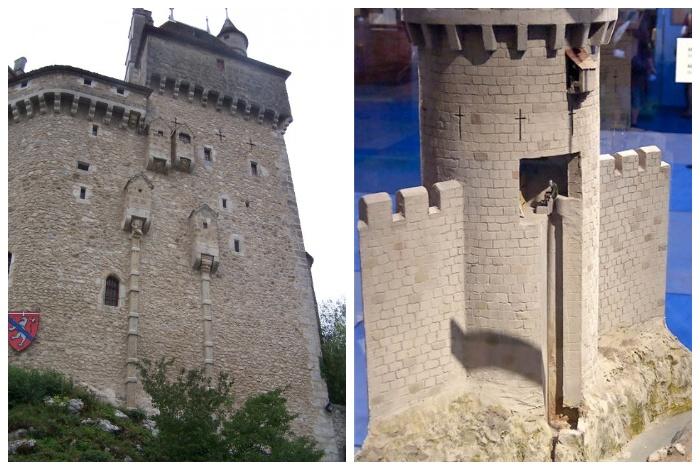 Закрытого вида туалет, созданный в виде эркера на оборонительной стене.