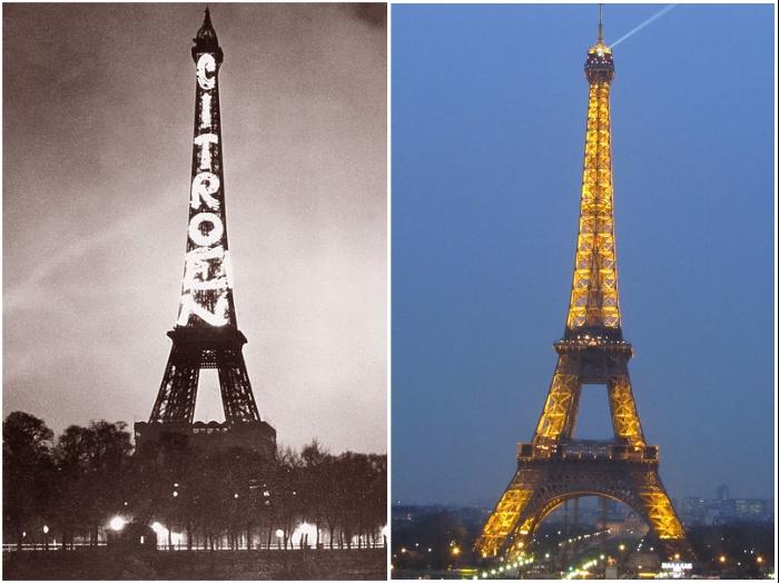 Огни Эйфелевой башни (Париж, 1925 г. и нынешнее время). | Фото: commons.wikimedia.org/ veronika-allure.blogspot.com.