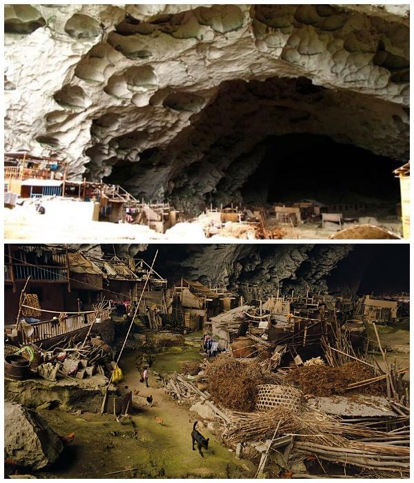 Под сводами огромной пещеры поместилось несколько улиц деревни (Чжундун, Китай). | Фото: youtube.com.