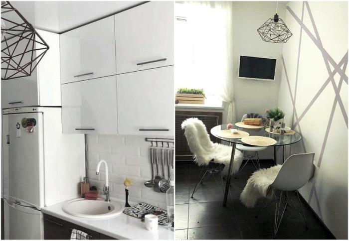 Белый цвет в тандеме с глянцевыми поверхностями помог визуально увеличить площадь миниатюрной кухни. | Фото: interesnoznat.com.