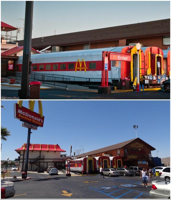 Даже закрытую железнодорожную станцию с настоящими вагонами перепрофилировали под ресторан McDonald's (Барстоу, Калифорния). | Фото: iloppmarknad.livejournal.com.