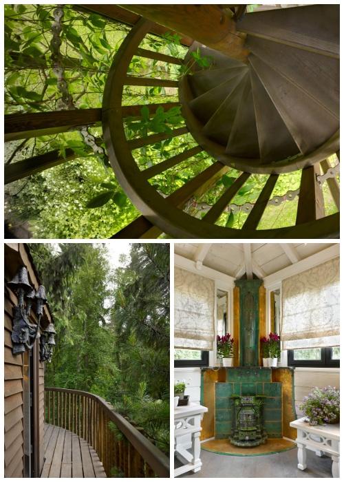 Весьма оригинальный домик на дереве стал главным украшением приусадебного участка («Беседка», Россия).