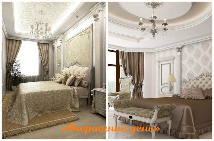 Сложный многоуровневый потолок из гипсокартонных конструкций утяжеляет интерьер небольшой комнаты.