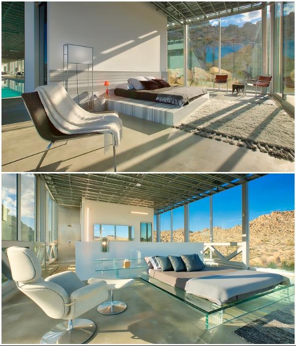Лаконичный интерьер спальных комнат компенсируется невероятным видом из окна («Invisible House», Joshua Tree). | Фото: referredbyruby.com.