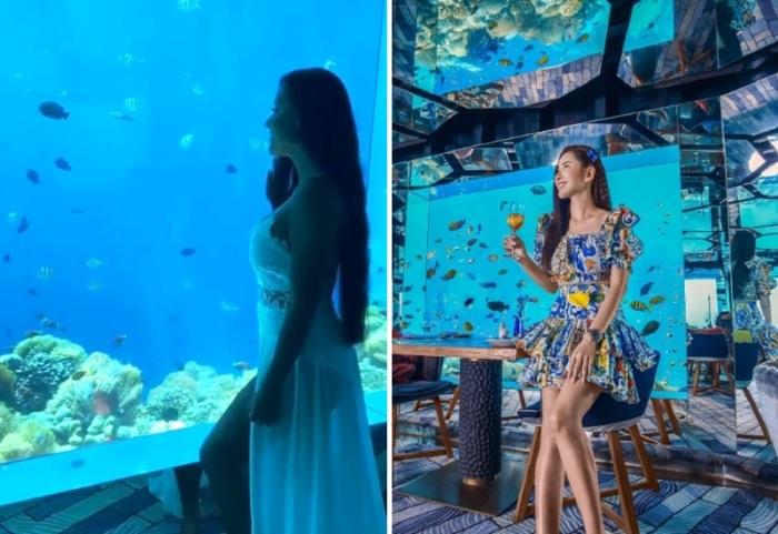 Зеркальный потолок и зеркальные колонны вместе с панорамными окнами создают неповторимый интерьер, который меняется ежесекундно (Sea Underwater Restaurant, Мальдивы). | Фото: mydernmet.com.