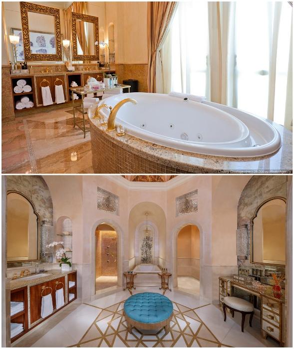 В апартаментах Royal Bridge Suite предусмотрены роскошные ванные комнаты для нее и для него.
