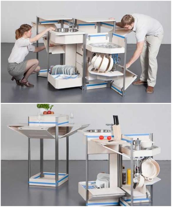 Несмотря на крошечные размеры, кухня «Stewart & Justin Case» оснащена всем необходимым. | Фото: furme.com.ua.