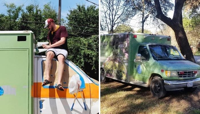 Майкл превратил списанную скорую помощь в дом своей мечты. | Фото: boredpanda.com.