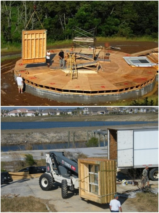 Элементы конструкции изготавливаются на заводе в Северной Каролине и доставляются в нужное место блоками (дом производства Deltec). | Фото: deltechomes.com.