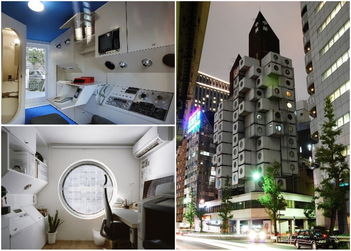 В этих своеобразных квартирах-капсулах есть все необходимое для проживания одного человека (Nakagin Capsule Tower, Япония).