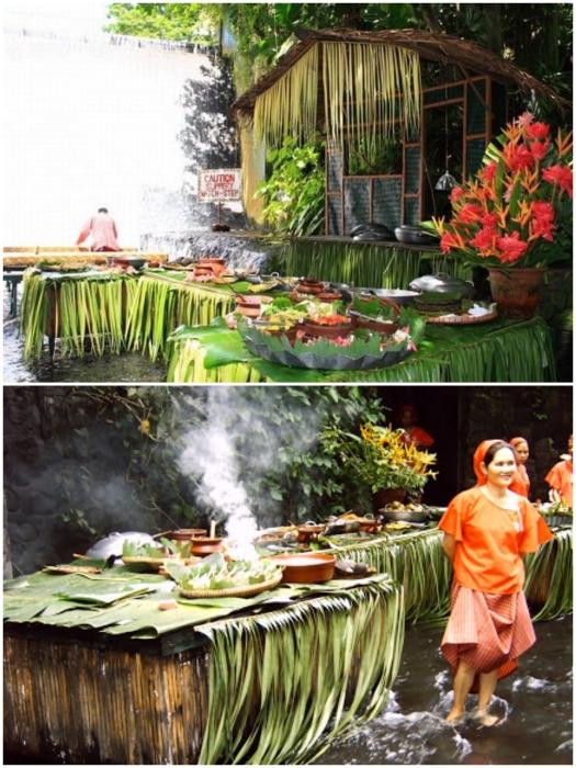 Вкусную еду готовят прямо на улице («Labassin Waterfall Restaurant», Филиппины). | Фото: funnypicclip.blogspot.com/ tolongedecasa.com.