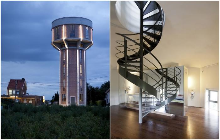 Старую водонапорную башню превратили в стильное современное жилье (Стееноккерцель, Бельгия). | Фото: news.myseldon.com.