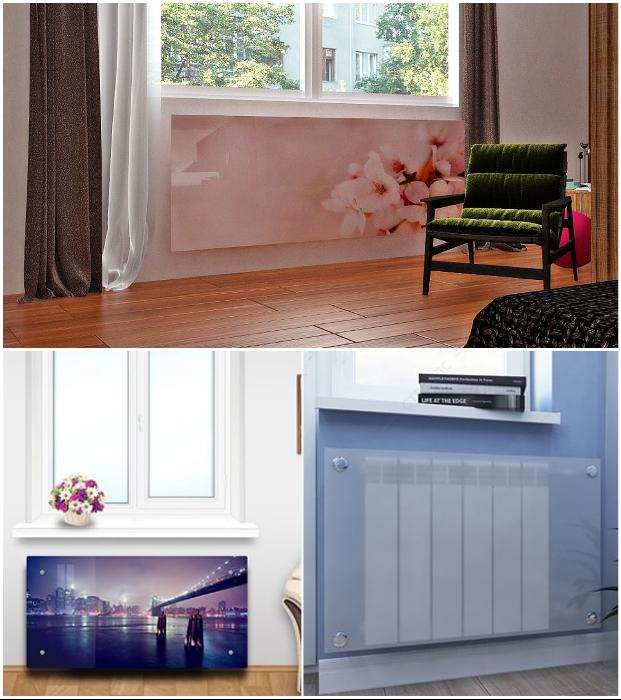 Экран для радиаторов отопления из стекла украсит любой интерьер.