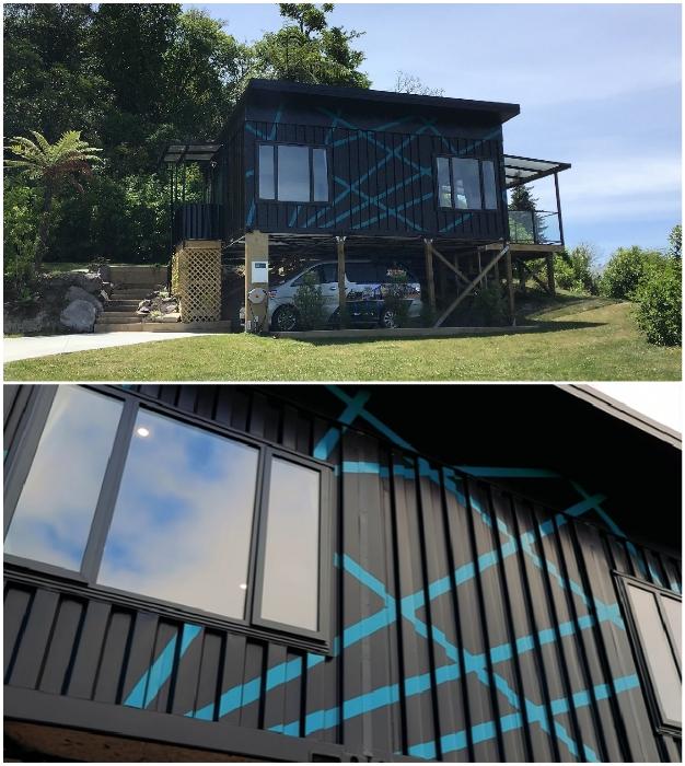 Интересное решение в оформлении фасада контейнерного дома. © IQ Container Homes.