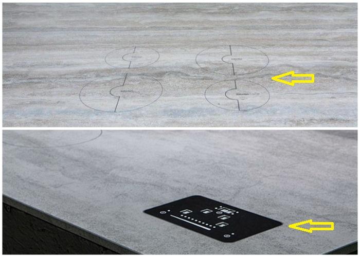 Варочная поверхность и панель управления вмонтированы прямо в столешницу.