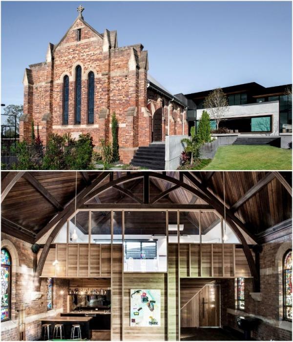 Красный кирпич и деревянная отделка интерьера были сохранены в первозданном виде (Брисбен, Австралия). | Фото: co.pinterest.com.
