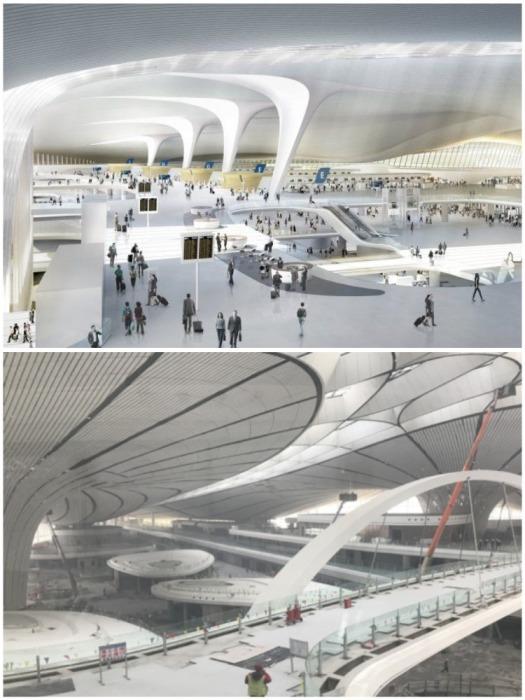Благодаря грамотному расчету в новом аэропорту пассажир к самолету сможет попасть через один из 82 гейтов (аэропорт «Дасин», Пекин). | Фото: russian.cri.cn.