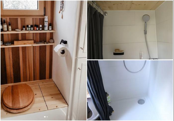 В миниатюрном мобильном домике есть душевая, биотуалет и несколько шкафов для хранения. | Фото: youtube.com/ © Venus Green.