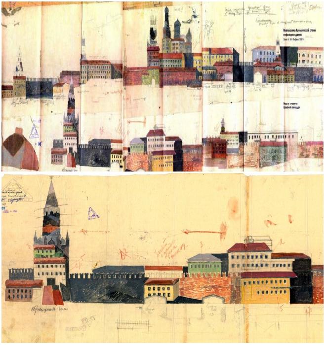 Эскизы маскировки главных объектов столицы, которые нужно было замаскировать. | Фото: cont.ws/ wwii.space.
