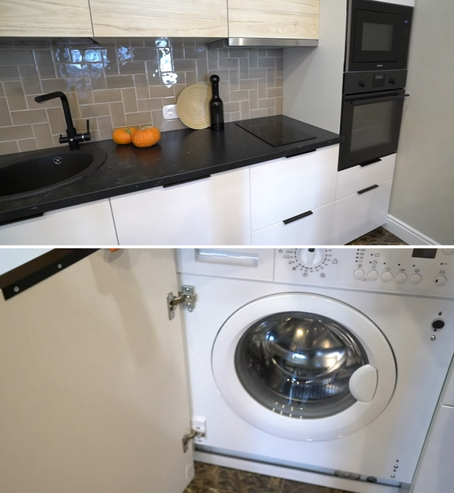 Небольшая рабочая зона и встроенная техника – лучший вариант для обустройства небольшой кухни. | Фото: youtube.com/ @ INMYROOM TV.