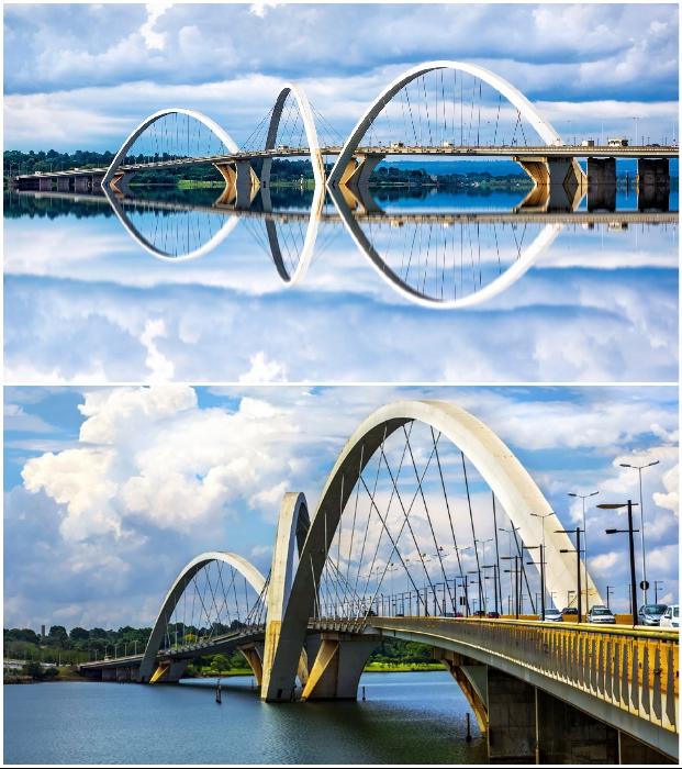 Мост Juscelino Kubitschek получил медаль Густава Линденталя в Питтсбурге в 2003 г. (Бразилио).