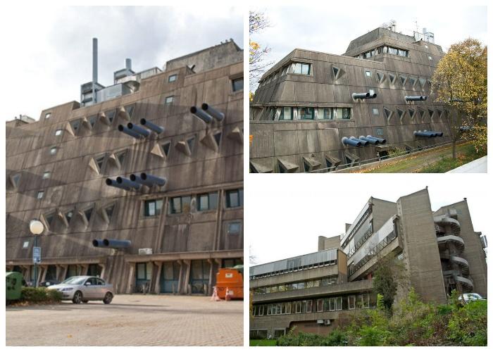 Передний фасад Исследовательского института похож на огромный военный линкор (Берлин, Германия).
