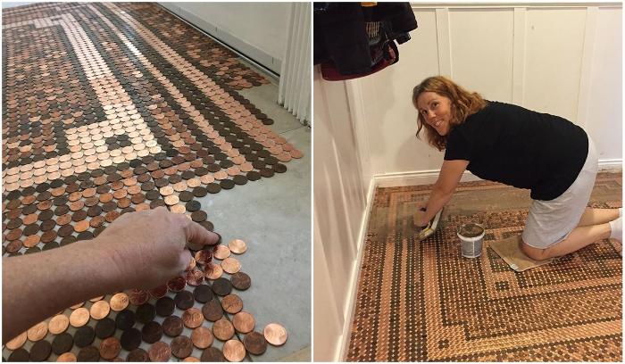 Келли Грэм из Лос-Анджелеса недавно поделилась своим интересным проектом в Facebook - мозаика для пола, сделанная из пенни. | Фото: facebook.com, © Camias Jewelry Designs/ buzzfeed.com.
