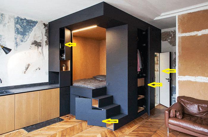 Уникальная конструкция модульной системы позволила рационально использовать каждый сантиметр внутренней площади (Проект Batiik Studio).