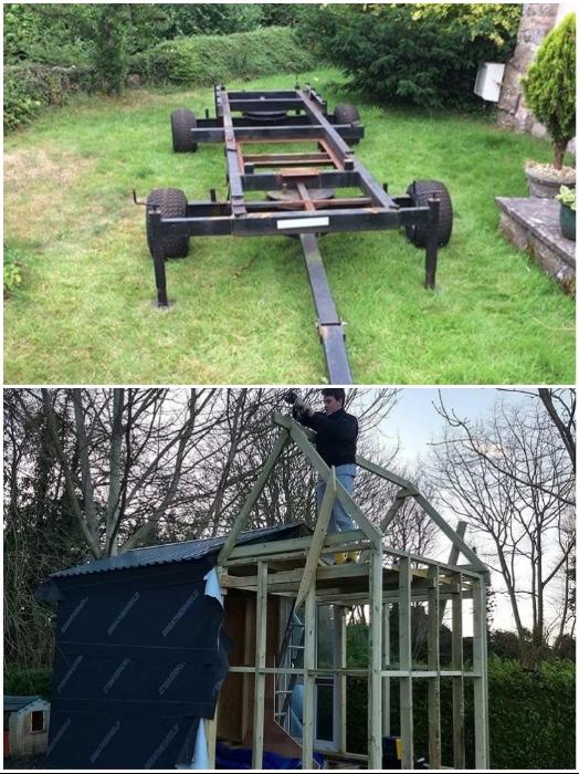Двухосный прицеп от старого дедушкиного автофургона стал основой для будущего крошечного дома. | Фото: instagram.com/ © Toms Tiny Home Project.