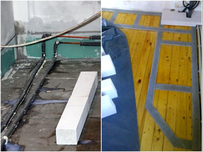 Если нет возможности класть кирпич на бетонную стяжку, тогда в нужных местах стоит выложить демпфирующую ленту.   Фото: sovkusom.ru/ forumhouse.ru.