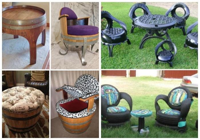 Дачную мебель можно сделать своими руками из подручных материалов.