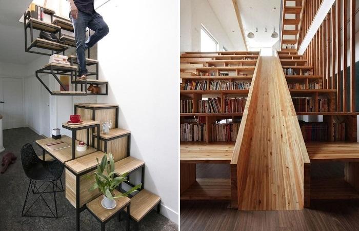 Лестницы могут выполнять не только свои прямые функции, а быть и рабочим столом и стеллажом, и выставочным пространством. | Фото: novosti-n.org.