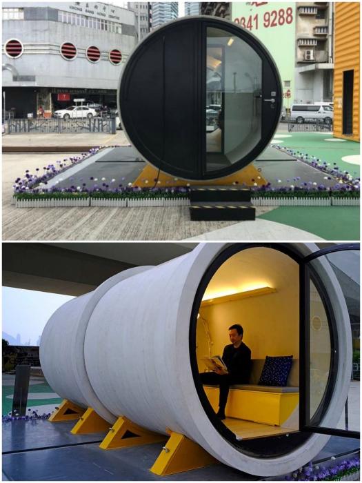 Водосточные ж/б трубы тоже можно превратить в благоустроенное жилье (OPod Tube House, Гонконг). | Фото: bigpicture.ru/ journal.homemania.ru.