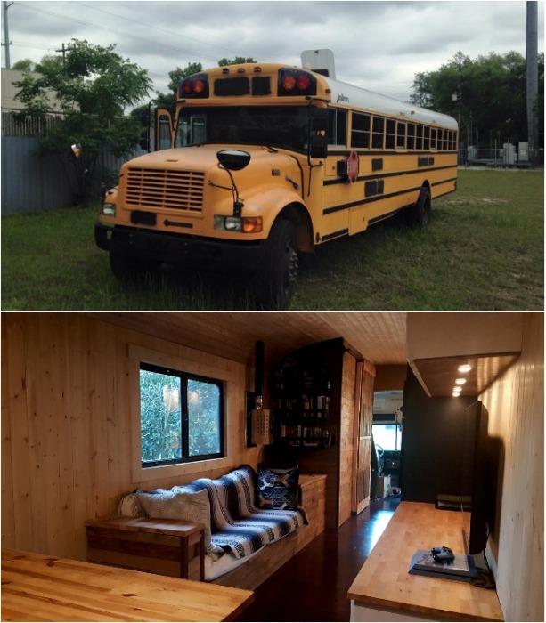 Пять лет Майкл прожил в переоборудованном школьном автобусе. | Фото: hypeness.com.br.