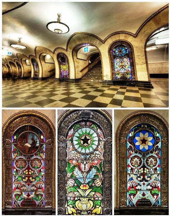 Невероятной красоты витражи украшают станцию метрополитена «Новослободская» (Москва, Россия).
