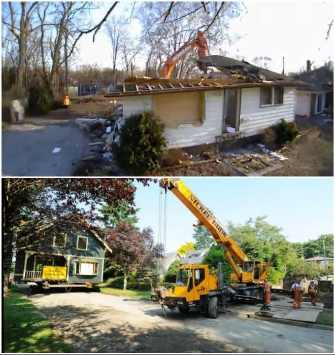 Непригодное для жизни строение было снесено, а на его место привезли крепкий дом из Ванкувера (Канада).