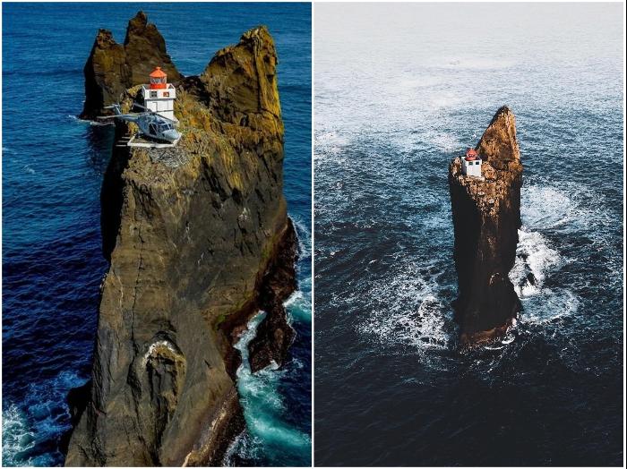 Несмотря на труднодоступное месторасположение маяк с завидной периодичностью становится «героем» соцсетей (Thridrangar Lighthouse, Исландия).| Фото: where-is-this.com.