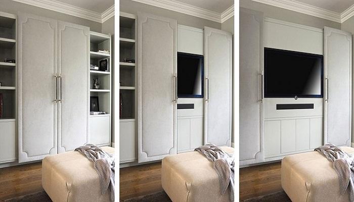 Телевизор можно спрятать за фасадом смарт-стенки.