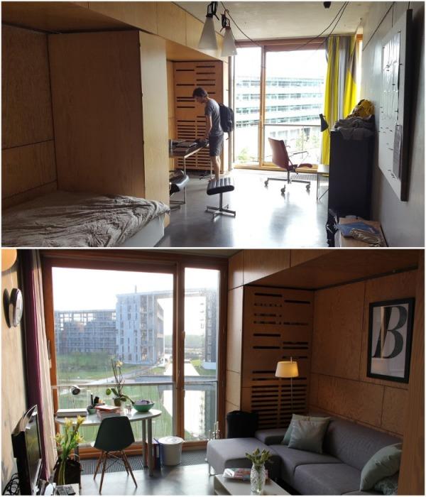 Личные жилые комнаты студенты обустраивают на свое усмотрение (Tietgenkollegiet, Копенгаген). | Фото: housingfoundation.ku.dk.