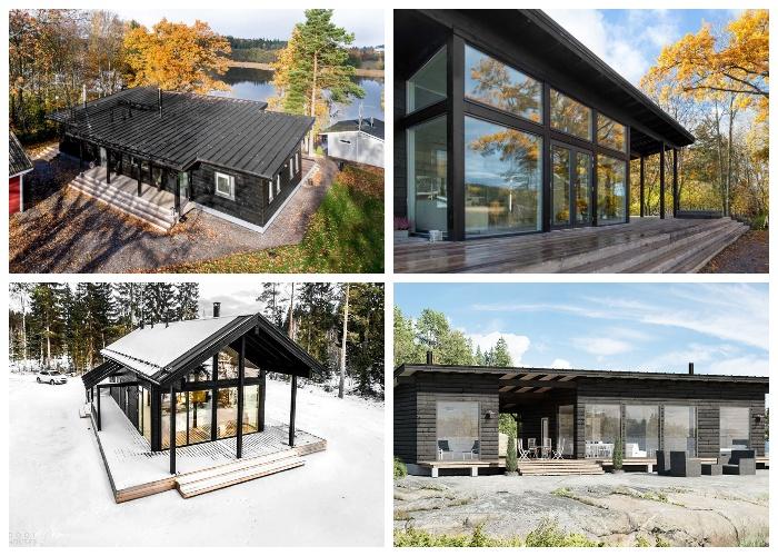 Варианты срубов, созданных финской компанией Pluspuu Oy и строительными фирмами.