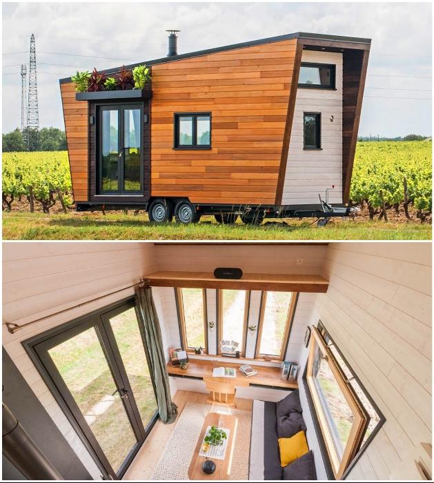 Комфортабельный крошечный домик «Intrepide» станет незаменимым в пути или во время отдыха на природе (Франция). | Фото: tinyhouse-baluchon.fr/ © Vincent Bouhours.