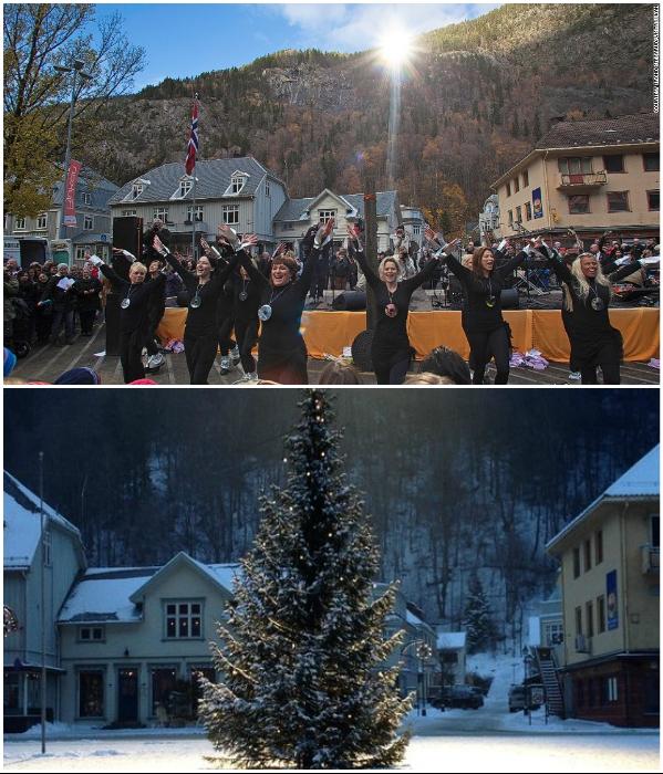 Теперь все городские праздники проходят только на центральной площади (Rjukan, Норвегия). | Фото: kidsdiscover.com/ atlasobscura.com.