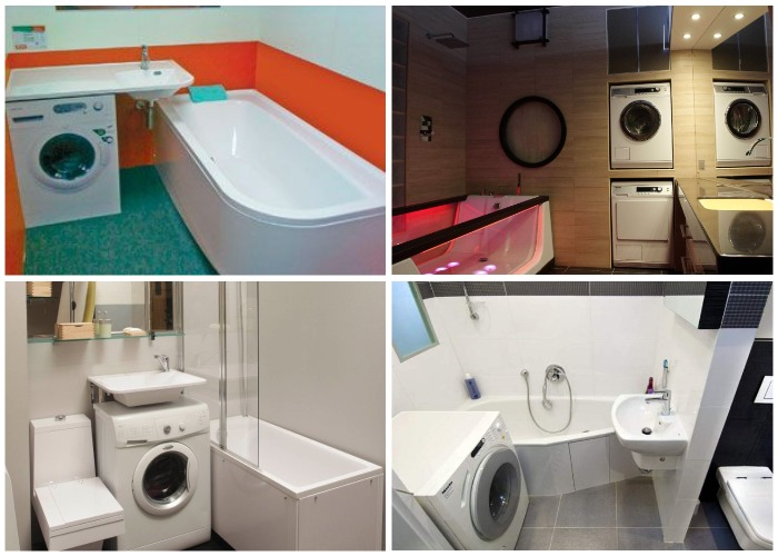 Варианты размещения стиральной машины в маленькой ванной комнате.
