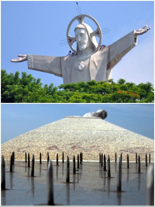 Если решили полюбоваться живописными красотами с высоты статуи Христа Спасителя, тогда не помышляйте о прогулке вне обзорной площадки (Вунг Тау, Вьетнам). | Фото: bigpicture.ru.