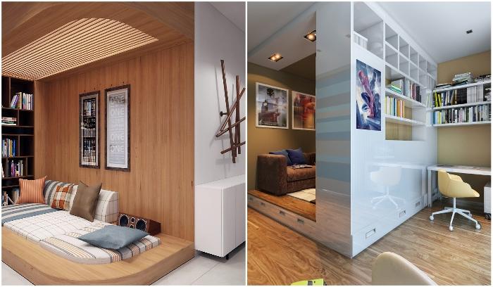 Благодаря подиуму можно отделить спальное место. | Фото: instagram/ © yana.cmade, © kirnasnatalia.