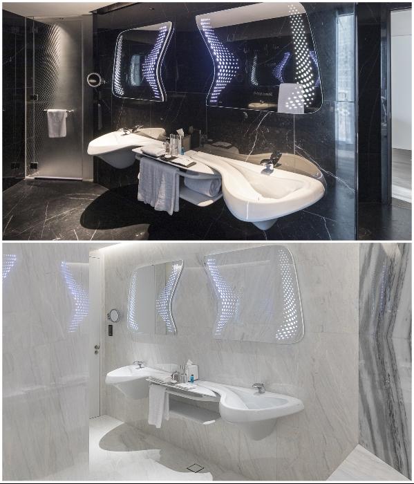 Интерьер ванных комнат создавала сама Заха Хадид («The Opus», Дубай). | Фото: zaha-hadid.com/ © Laurian Ghinitoiu.