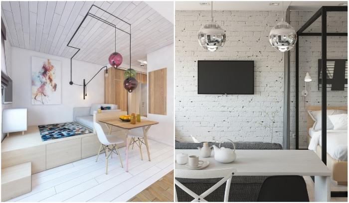 Фактурной и акцентной может быть не только стена, но и потолок или пол. | Фото: homebuilding.ru/ roomble.com.